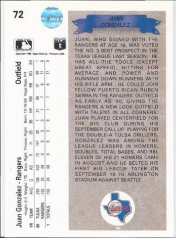 Baseball Cards 1990 Upper Deck Juan Gonzalez 72 Rookie